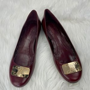 Brooks Brothers Leather Plated Toe Ballet Flats